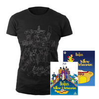 Yellow Submarine Blu-ray & Yellow Submarine Womens Black Sketches Exclusive T-Shirt & Midi Book.*