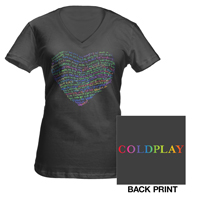 Coldplay Lyric Heart Women's V-Neck T-Shirt