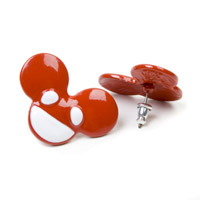 deadmau5 Red and White mau5head Earrings