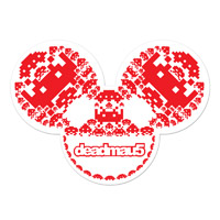 deadmau5 Space Invaders White/Red Icons Sticker