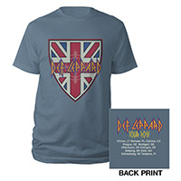 Def Leppard Flag Shield/Itin 2015 Blue Tee