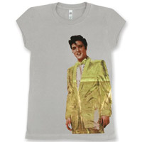EP Elvis in Gold Lame Ladies Grey T-shirt