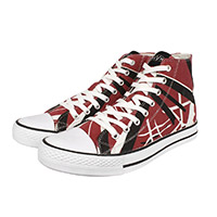 "Eddie Van Halen ""Red/Black/White Striped"" High Top Sneakers"