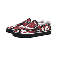 Red/Black/White Striped Slip On Sneakers