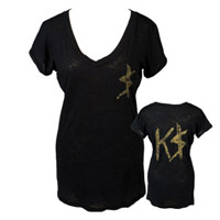 Kesha Glitter K$ Burnout V-Neck