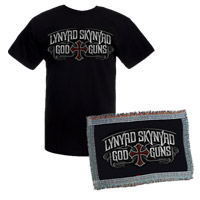 Exclusive - Lynyrd Skynyrd God & Guns Album Cover Tee & Throw Blanket Bundle Special - $50