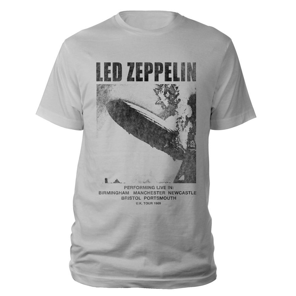 UK Tour 1969 LZ I Silver Grey T-Shirt