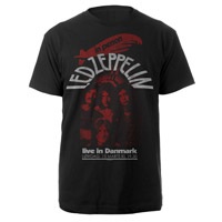 LED ZEPPELIN LIVE IN DENMARK BLACK T-SHIRT