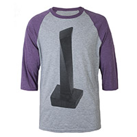 Led Zeppelin 'The Object' on a Grey and Aubergine Raglan Sleeve Shirt