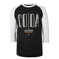 Led Zeppelin Coda Companion Album on a Black and White Raglan Sleeve Shirt