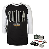 Led Zeppelin Coda Super Deluxe Edition Box Set + Companion Album on a Black and White Raglan Sleeve Shirt