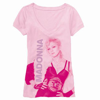 Madonna Pink V Neck Candy Photo T