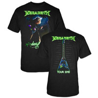 Megadeth Dave Mustaine Green Guitar Photo T-shirt
