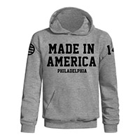 Made in America heather grey flag PA pullover hoodie