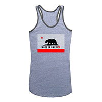 Made in America junior tank heather grey CA Flag