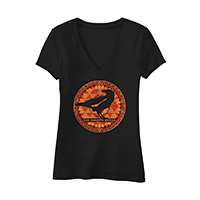 Ladies V-Neck Flowy Tee  with Orange Logo