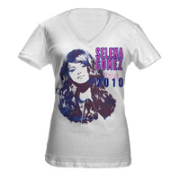 "Selena Gomez ""Contrast V-Neck"" Junior Tissue Tee"