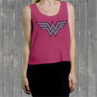 "Wonder Woman ""W W Logo"" Ladies Crop Tank"