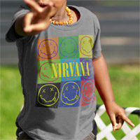 "Nirvana ""Smiley Pop Art"" Kids Crew Shirt"