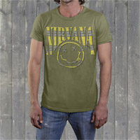 "Nirvana ""Striped Smiley"" Mens Crew Shirt"