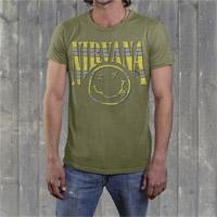 "Nirvana ""Striped Smiley"" Mens Crew Shirt"