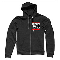 VI Roman Numerals Zip Through Hooded Black Sweat