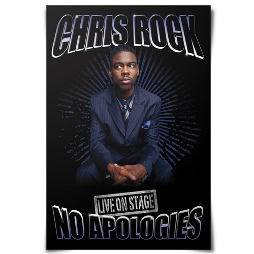 ... photo of Chris and reading 'Chris Rock Live On Stage No Apologies Tour'.