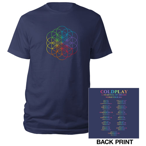 Coldplay Flower Of Life Europe 2016 Tour T-Shirt