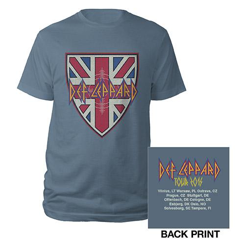Def Leppard Flag Shield/Itin 2015 Blue Tee