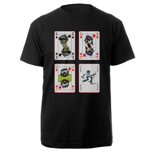 New - Gorillaz Cards Black Tee