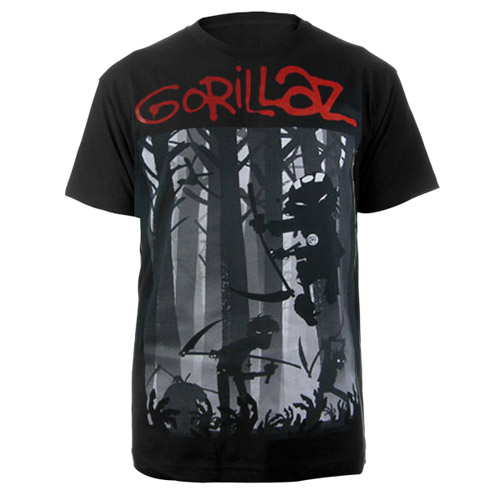 New - Gorillaz Forest Black T-Shirt