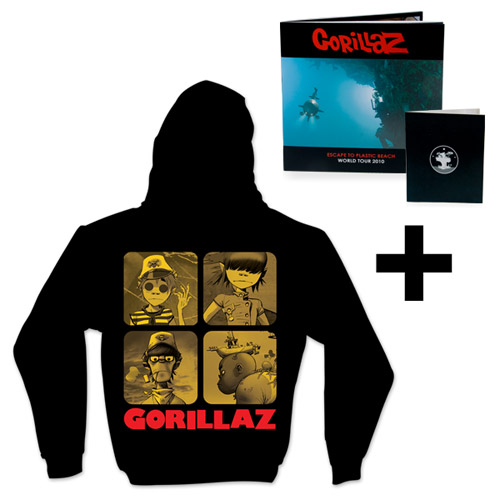 Gorillaz Hooded Sweatshirt & Plastic BeachTour Program Bundle Special - $50