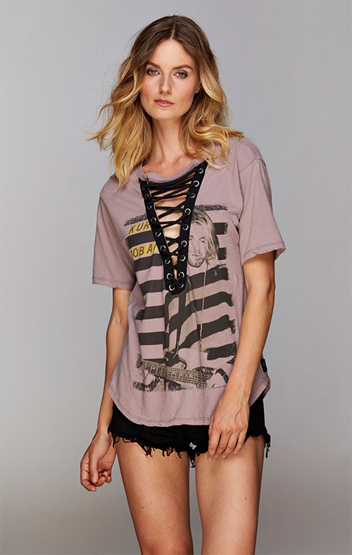 Kurt Cobain S/S Lace-Up Front Tee