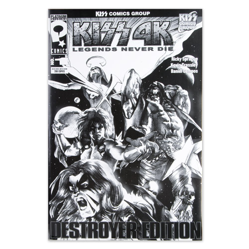 Limited Edition Extra Large Black & White KISS Destroyer Comic #1