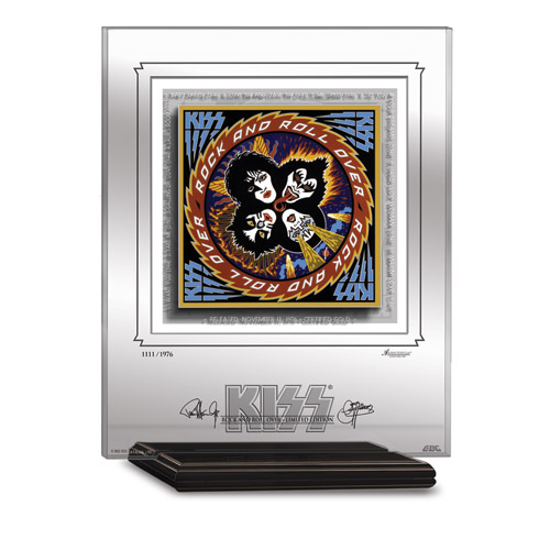 KISS ROCK 'N' ROLL OVER ARCHIVAL ETCHED GLASS - MANTELPIECE