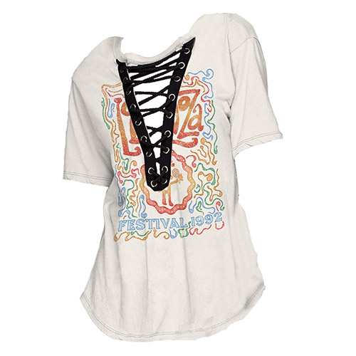 Juniors Lace-Up Boyfriend Tee