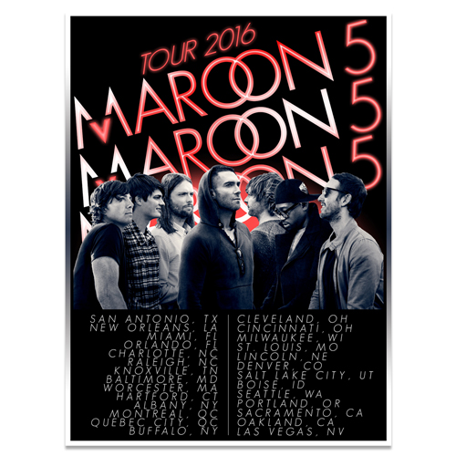 Maroon 5 2016 North American Tour Poster