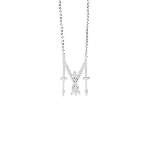 "Madonna ""M"" Charm White Gold Necklace"