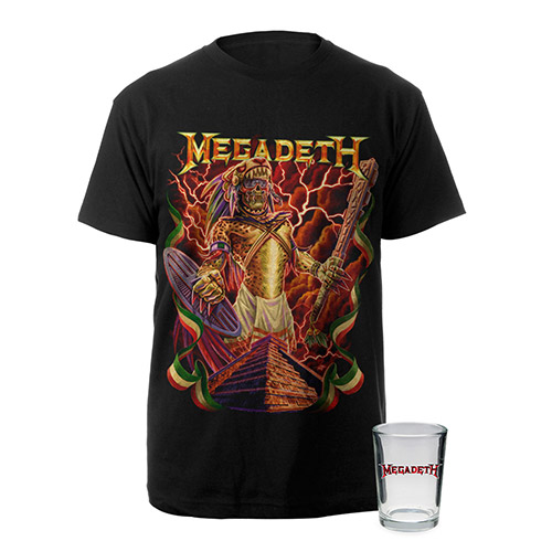 Aztec Vic Megadeth Tee & 4oz Shot Glass Bundle Special - $24.95