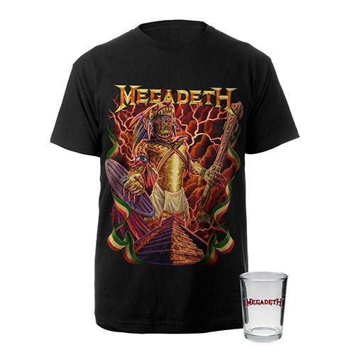 Aztec Vic Megadeth Tee & 4oz Shot Glass Bundle Special - $24.95