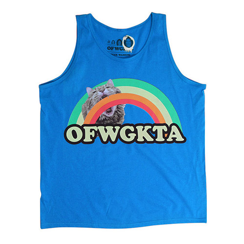 GIRLS RAINBOW CAT TANK ROYAL BLUE