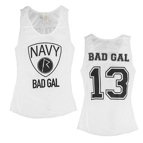 Bad Gal Navy Tank Top White
