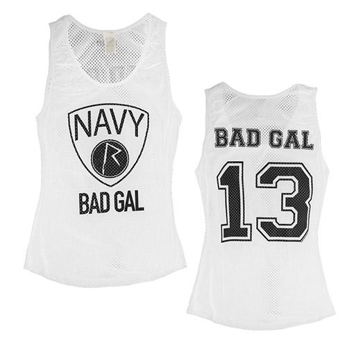 Bad Gal Navy Tank Top White*