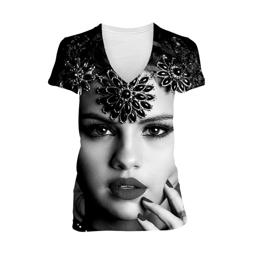 Selena Gomez Stars Dance Junior V-Neck Face Tee