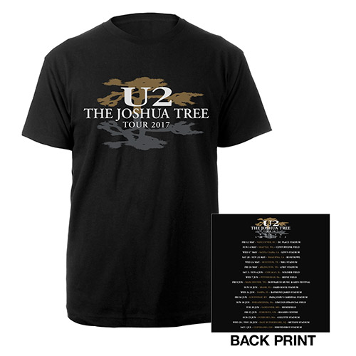 The Joshua Tree North America Tour 2017 Logo Black T-Shirt