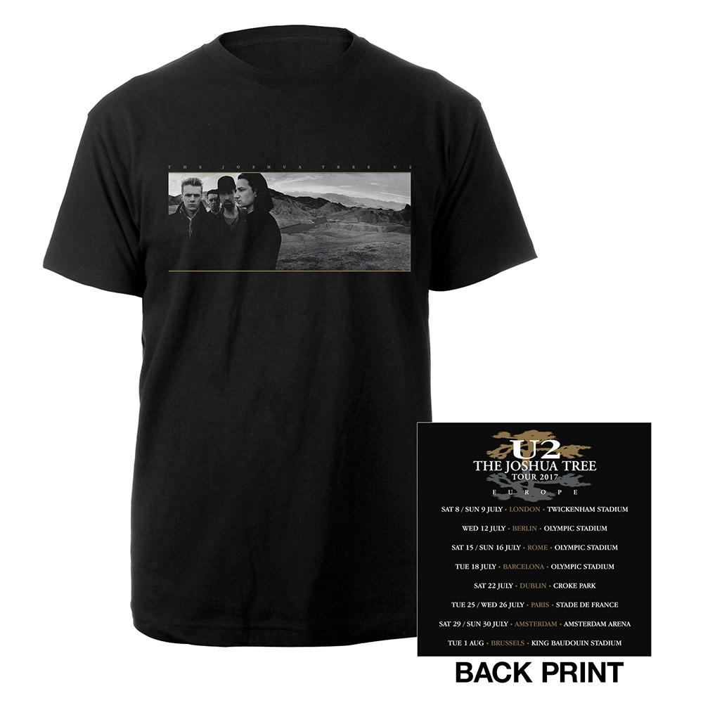 Black t shirt image - The Joshua Tree European Tour 2017 Logo Black T Shirt