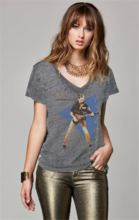 George Michael Short Sleeve Cold Shoulder Hi Lo Crop Tee