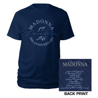 Madonna True Blue 30th Anniversary Tee