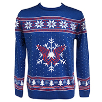 Wings Christmas Knitted Blue Jumper