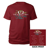 The Joshua Tree European Tour 2017 Logo Red T-Shirt